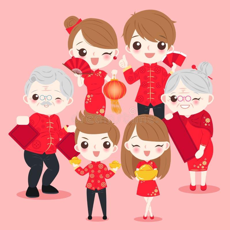 Familia con Año Nuevo chino ilustración del vector