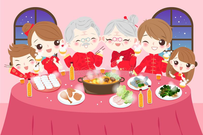 Familia con Año Nuevo chino stock de ilustración