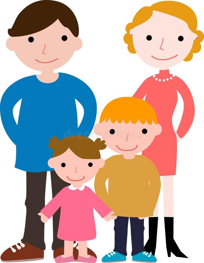 Familia con dos niños ilustración del vector