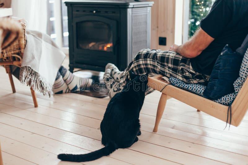 Familia con el gato que se relaja por el lugar del fuego imagen de archivo libre de regalías