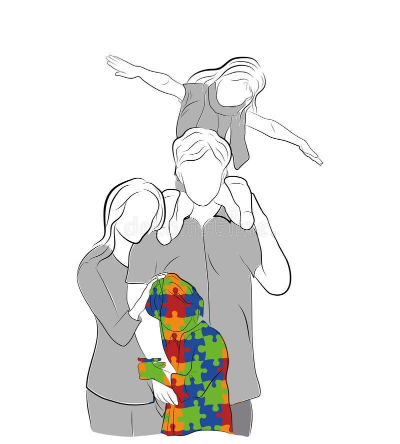 Familia con el niño autístico Día del autismo del mundo Ilustración del vector stock de ilustración