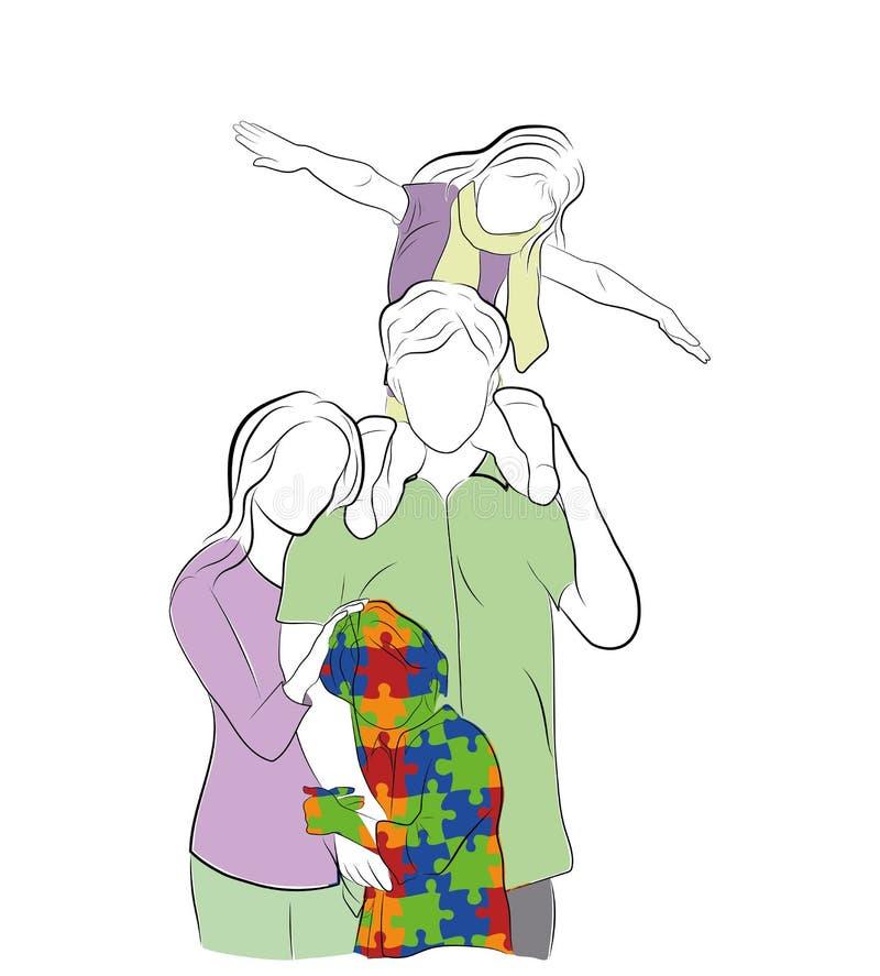 Familia con el niño autístico Día del autismo del mundo Ilustración del vector libre illustration