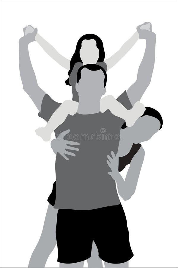 Familia con el niño en hombros libre illustration