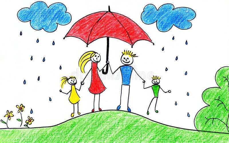 Familia con el paraguas ilustración del vector