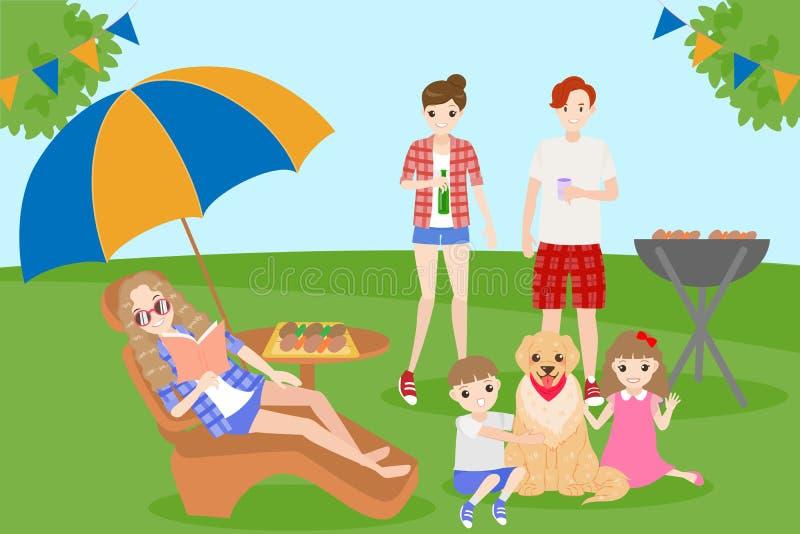 Familia con el partido del Bbq stock de ilustración