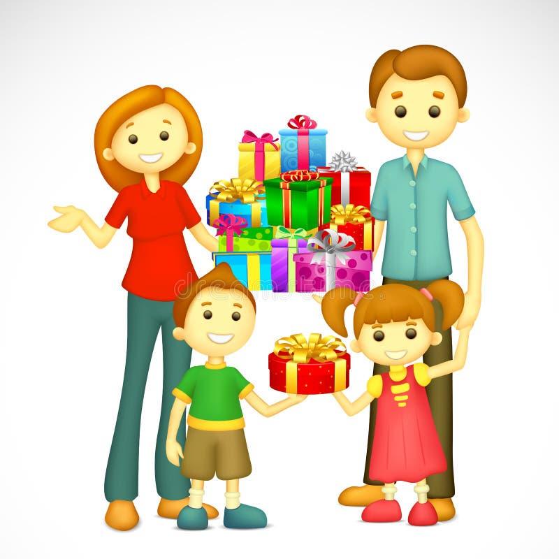 Familia Con El Regalo De Día De Fiesta Imagenes de archivo