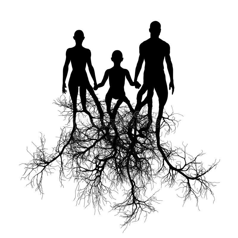 Familia con las raíces del árbol ilustración del vector