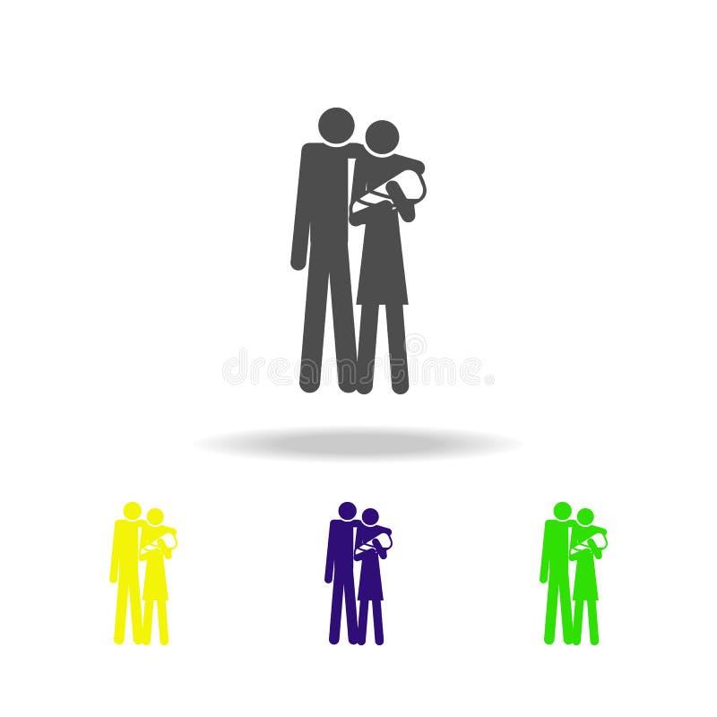 familia con los iconos multicolores de un bebé Elemento del ejemplo casado vida de la gente Muestras e icono de la colección de l ilustración del vector