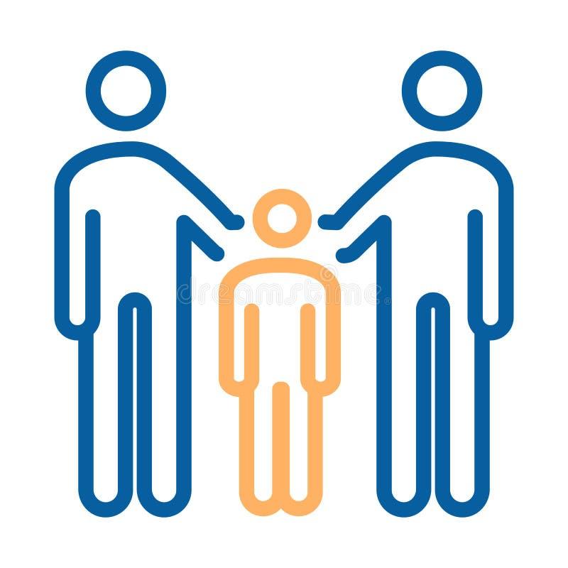 Familia con los padres y el icono del niño Línea fina ejemplo del vector Para los conceptos de unión de la familia, adoptando a u libre illustration