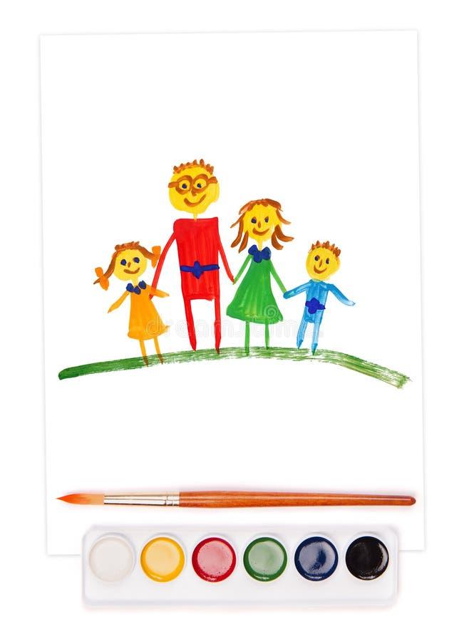 Familia, conjunto de la acuarela y cepillo pintados libre illustration
