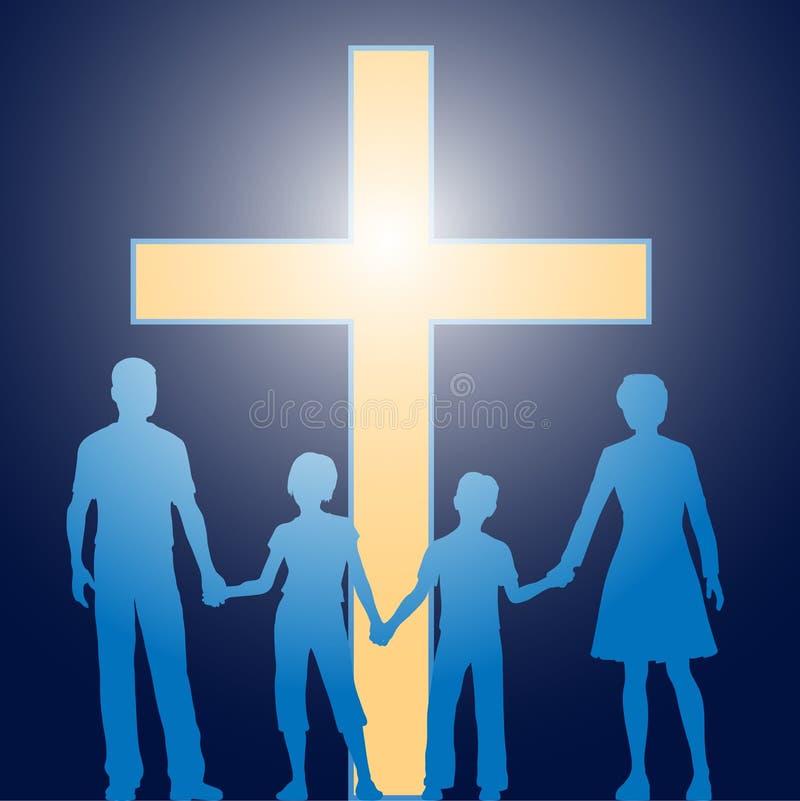 Familia cristiana que se coloca antes de cruz luminosa ilustración del vector