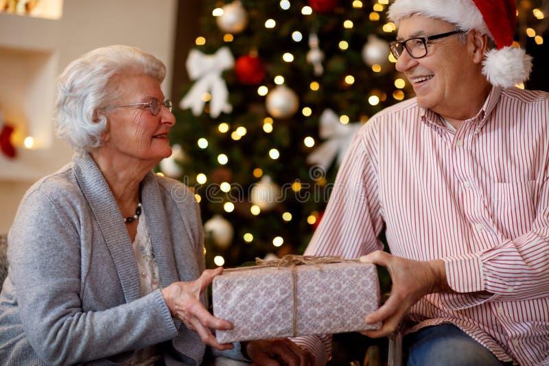 Familia, días de fiesta, edad y concepto de la gente - par mayor sonriente imagen de archivo libre de regalías