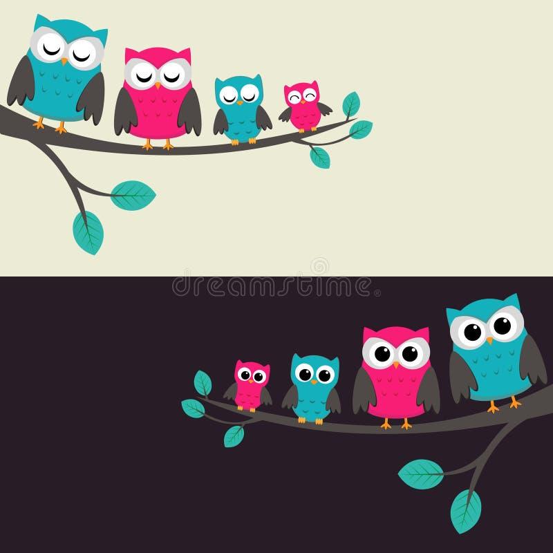Familia de buhos libre illustration