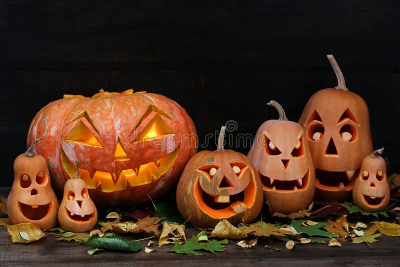 Familia de calabazas de Halloween foto de archivo
