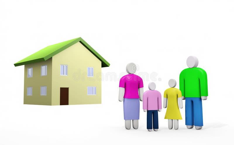 Familia de cuatro miembros abstracta y la casa en distancia stock de ilustración