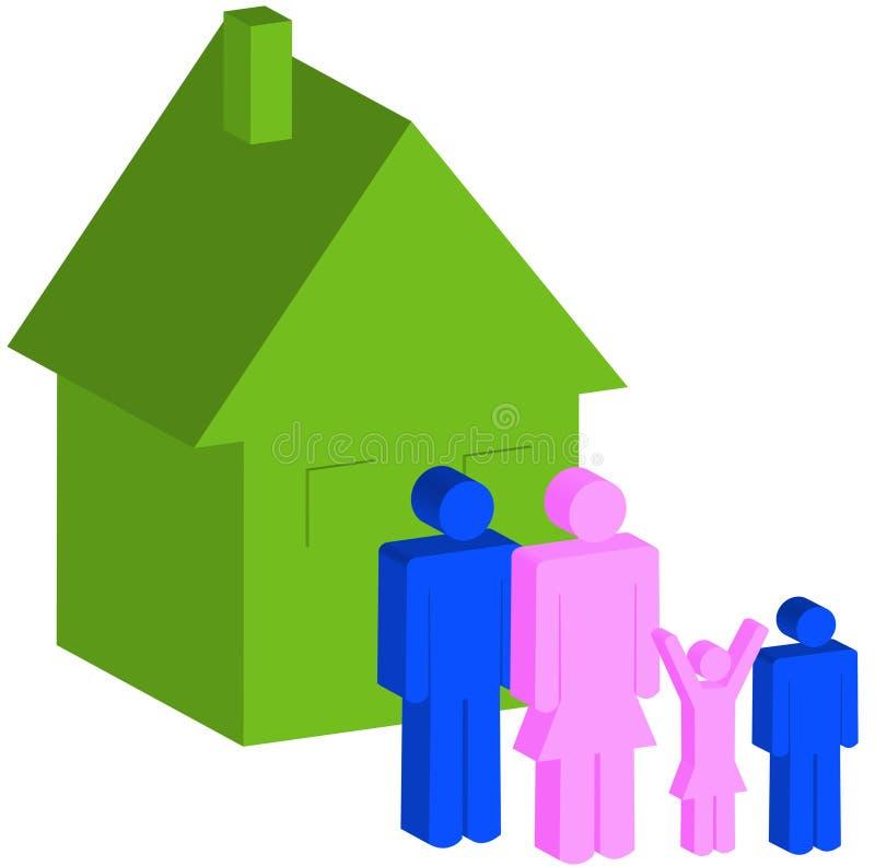 Familia de cuatro miembros con la casa ilustración del vector