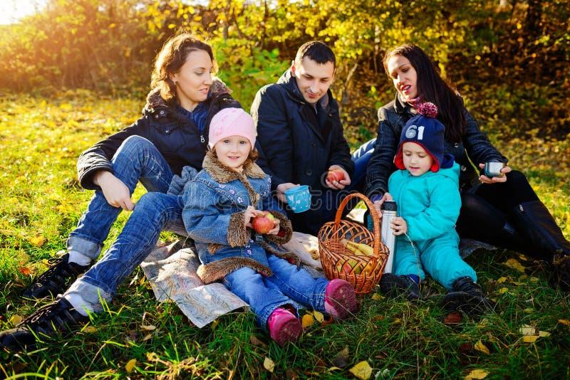 Familia de cuatro miembros joven feliz que tiene comida campestre en el prado en el día de verano fotografía de archivo