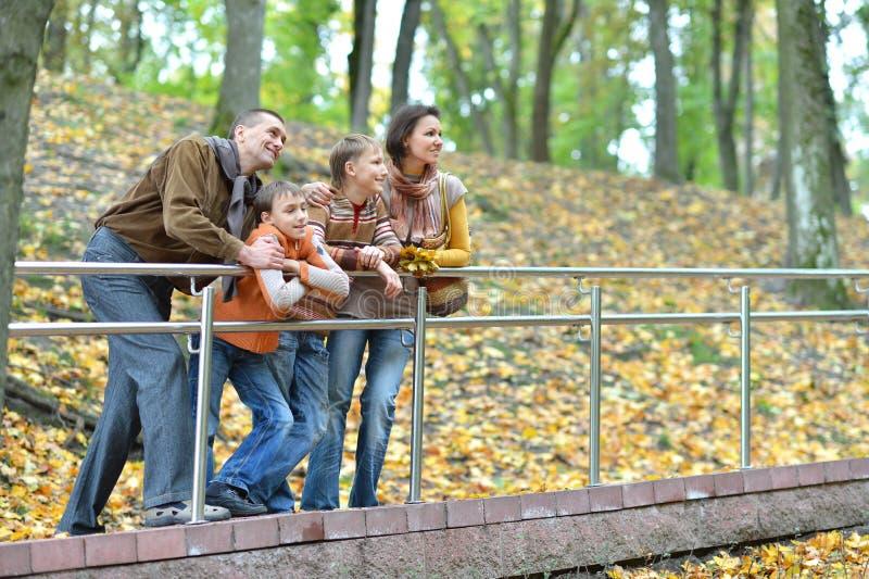 Familia de cuatro miembros que camina en parque del oto?o fotografía de archivo