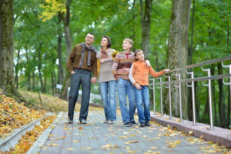Familia de cuatro miembros que camina en parque del oto?o imágenes de archivo libres de regalías