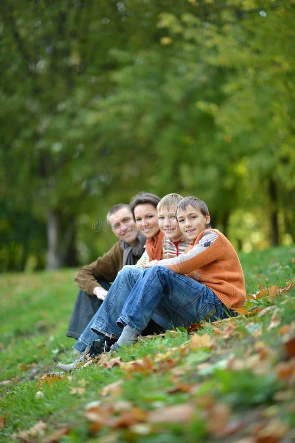 Familia de cuatro miembros que plantea la sentada en hierba imagenes de archivo