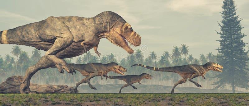 Familia de dinosaurios - rex del tiranosaurio stock de ilustración