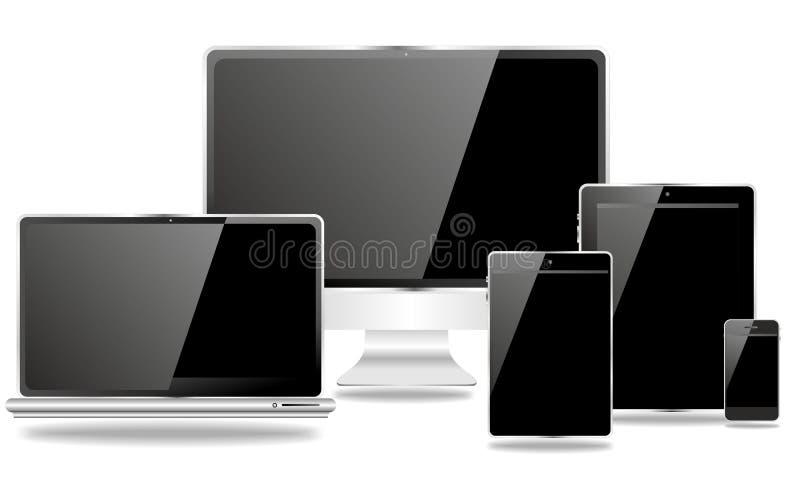 Familia de edición negra de los dispositivos de comunicación stock de ilustración