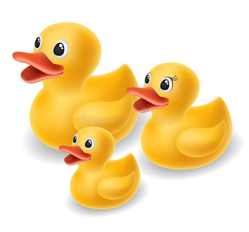 Familia de goma del pato fotografía de archivo libre de regalías