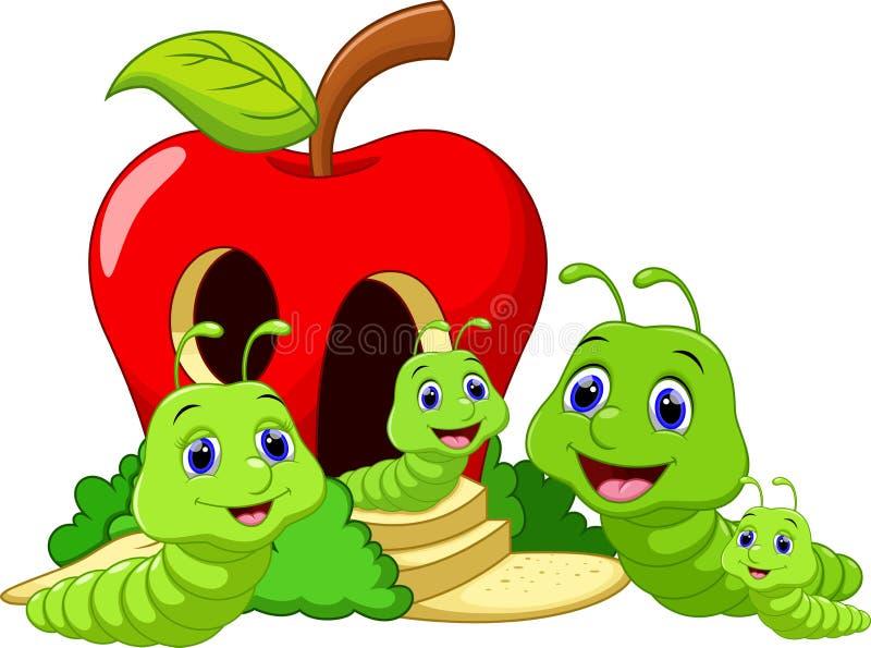 Familia de gusano divertida de la historieta ilustración del vector