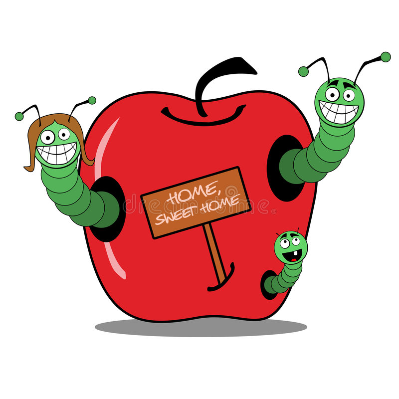 Familia de gusano en la manzana stock de ilustración