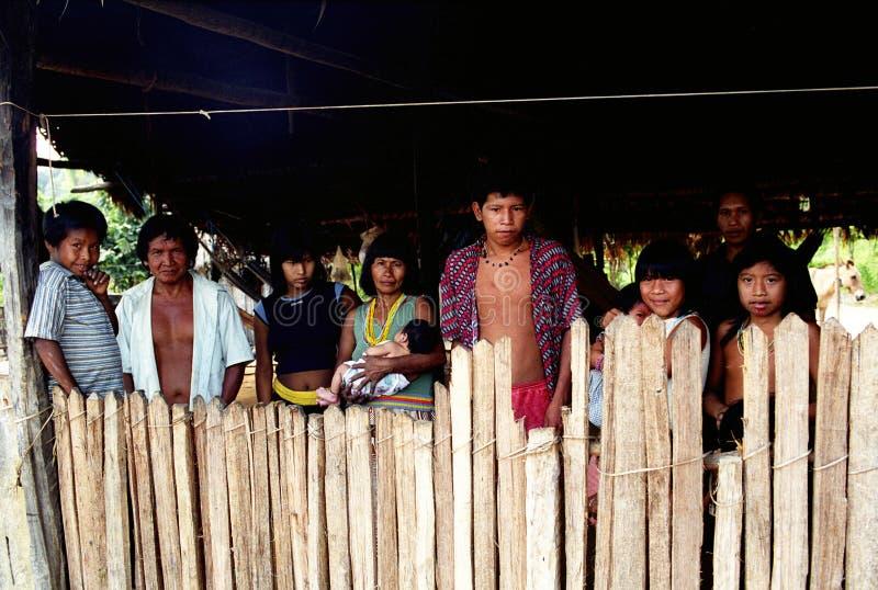 Familia de Kaapor, indio nativo del Brasil fotos de archivo libres de regalías