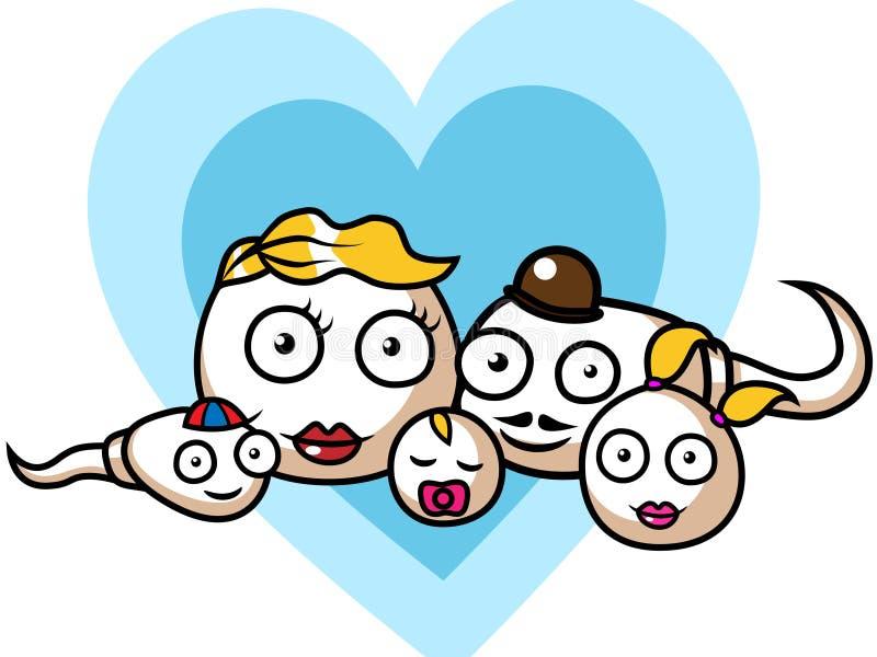 Familia de la esperma y del huevo libre illustration
