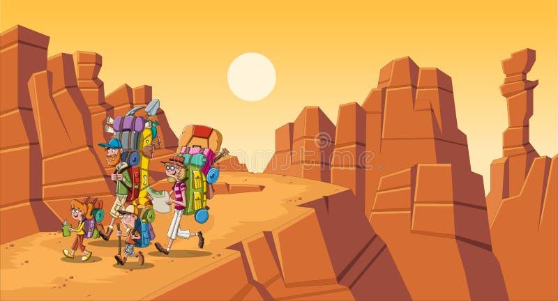 Familia de la historieta con las mochilas grandes en el desierto Gente que camina en fondo del barranco stock de ilustración