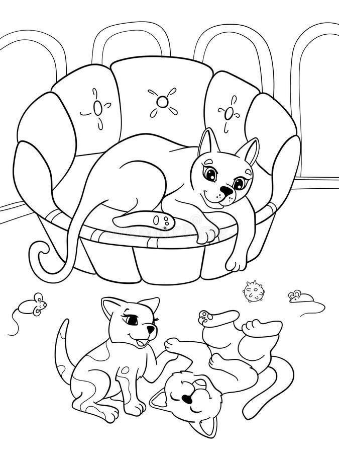 Familia de la historieta del libro de colorear de los niños en la naturaleza Gato de la mamá y niños de los gatitos ilustración del vector
