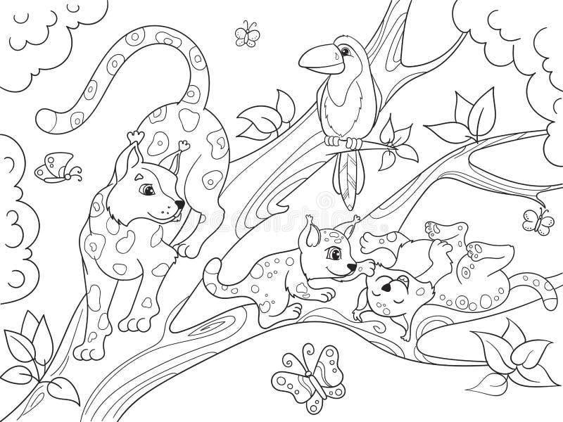 Familia de la historieta del libro de colorear de los niños de leopardos en la naturaleza stock de ilustración
