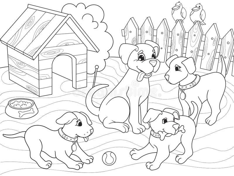 Familia de la historieta del libro de colorear de los niños en la naturaleza Perro de la mamá y niños de los perritos stock de ilustración