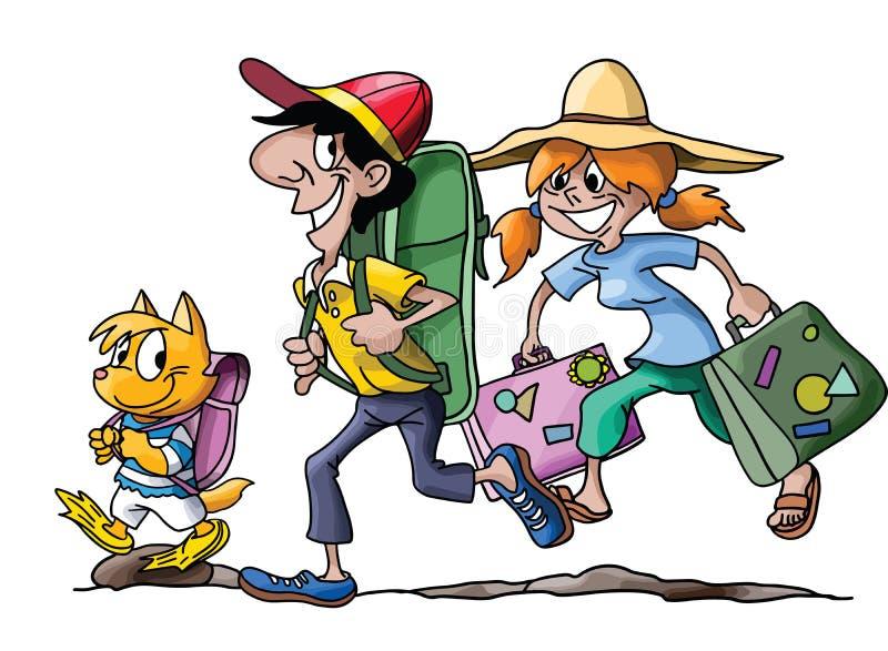 Familia de la historieta que va en vacaciones con su vector del gato ilustración del vector