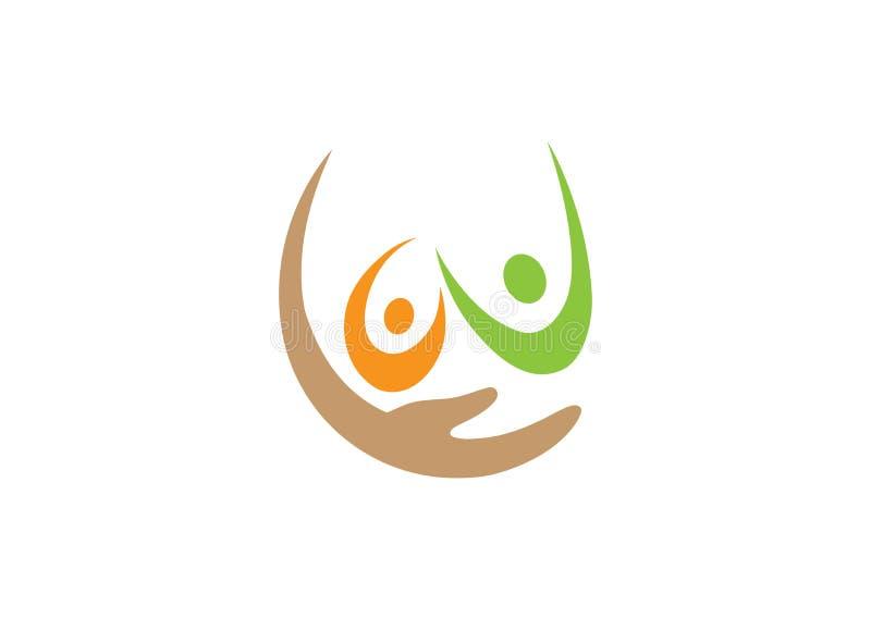 Familia de la mano que cuida Familie para el diseño del logotipo ilustración del vector