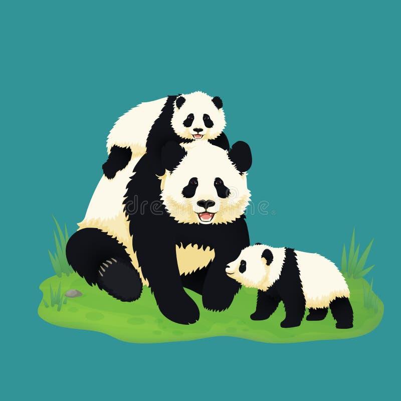 Familia de la panda gigante Panda adulta sonriente con dos pandas del bebé que se sientan en la hierba Osos chinos Madre o padre  ilustración del vector