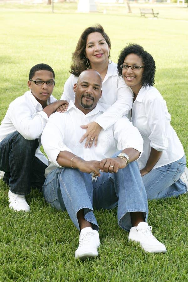 Familia de la raza mezclada en el parque imagen de archivo libre de regalías