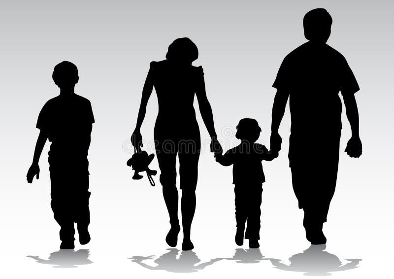 Familia de la silueta stock de ilustración