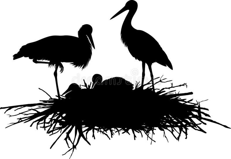 Familia de la silueta del vector de cigüeñas en la jerarquía libre illustration