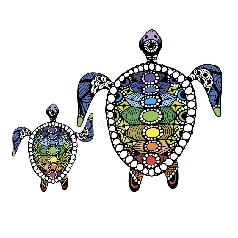 Familia De La Tortuga, Zentangle Para Su Diseño Ilustración del ...
