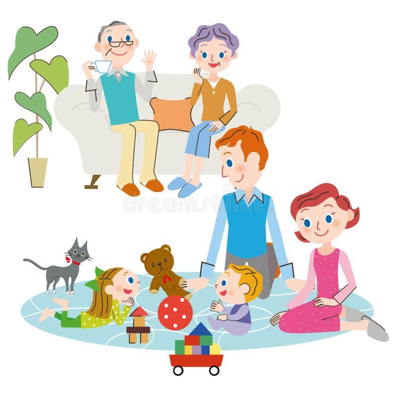 Familia de la vida y de la tres-generación ilustración del vector