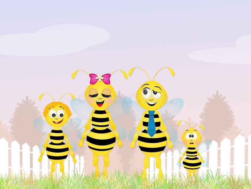 Familia de las abejas ilustración del vector