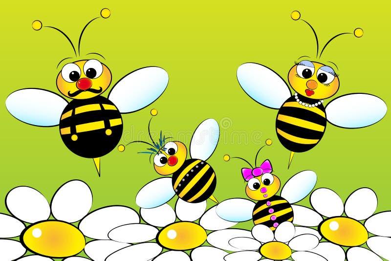 Familia de las abejas - ilustración de los cabritos stock de ilustración