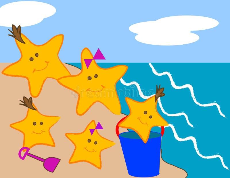 Familia de las estrellas de mar stock de ilustración