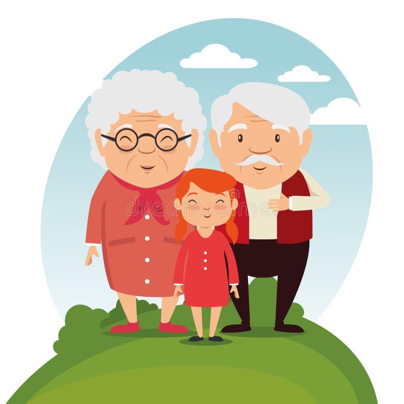 Familia de los abuelos con los nietos stock de ilustración