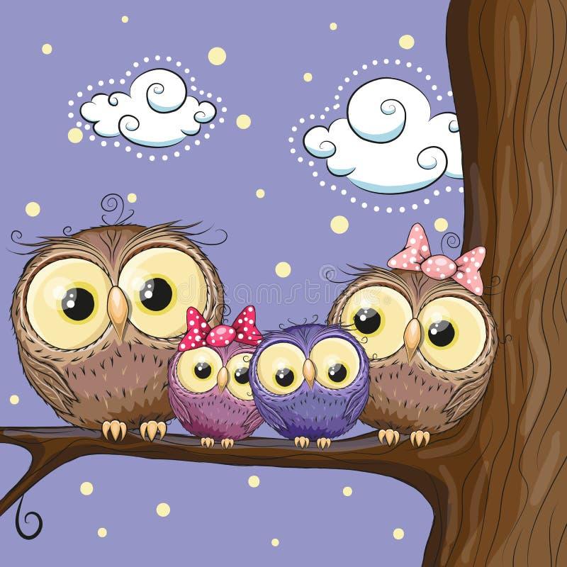 Familia de los búhos stock de ilustración