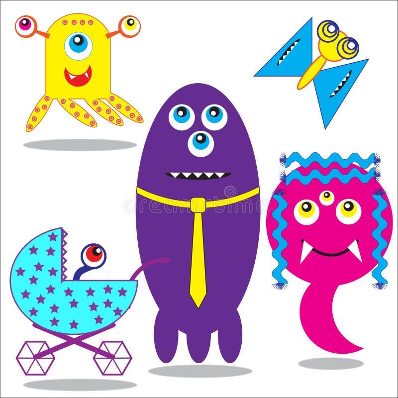Familia de los monstruos stock de ilustración