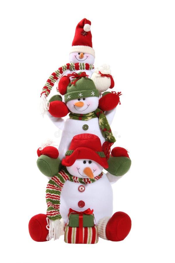 Familia de los muñecos de nieve fotografía de archivo